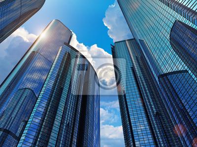 Naklejka Niebieskie budynki firmy