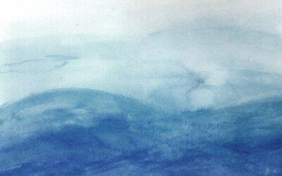 Naklejka Niebieskie fale w akwareli