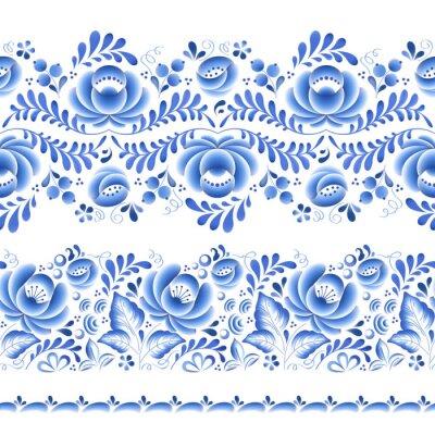 Naklejka Niebieskie kwiaty kwiatowy ornament piękna porcelana rosyjski folk.