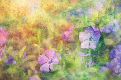 Naklejka niebieskie kwiaty, uroczy i plamy akwarela