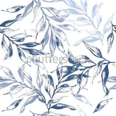 Naklejka Niebieskie liście tekstury wzór. Akwarela kwiatowy tło. Wzór może służyć do tapety, wzór wypełnienia tła strony internetowej, tekstury powierzchni