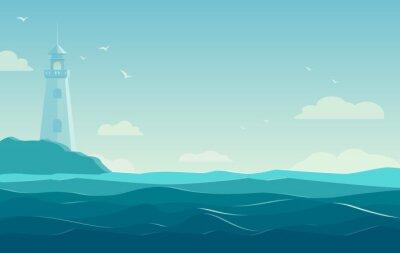 Naklejka niebieskim tle morza z falami i latarni. Ilustracja wektorowa