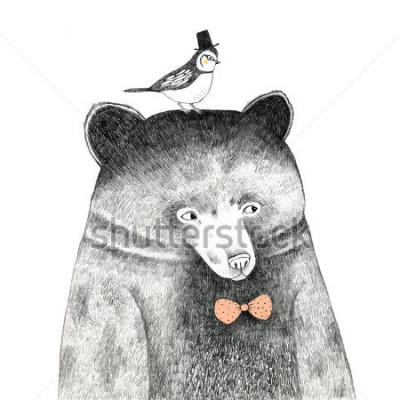 Naklejka niedźwiedź z ptakiem na głowie - rysunek ołówkiem