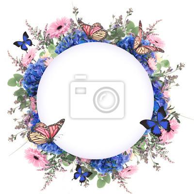 Niesamowite tło z hortensji i stokrotki. Żółty i niebieski kwiaty na białym blankiecie. Kwiatu karty z naturą. bokeh motyli.