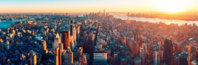 Naklejka Niesamowity widok z lotu ptaka Manhattan dowcip zachód słońca