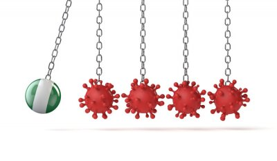 Naklejka Nigeria flag ball hits into a line of coronavirus molecules. 3D Rendering