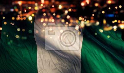 Naklejka Nigeria Flaga Noc światła Bokeh Streszczenie Kontekst
