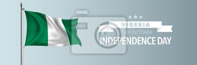 Naklejka Nigeria happy independence day greeting card, banner vector illustration