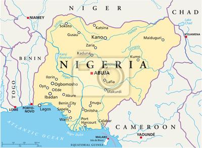 Naklejka Nigeria map (Nigeria Landkarte)