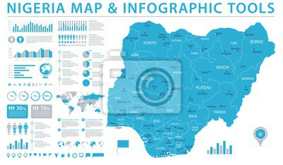 Naklejka Nigeria mapa - Ewidencyjna Graficzna Wektorowa ilustracja