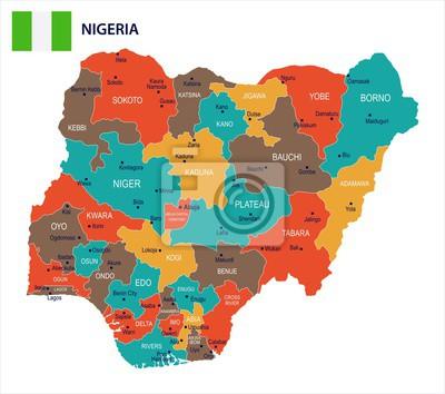 Naklejka Nigeria - mapa i flaga Szczegółowa Wektorowa ilustracja