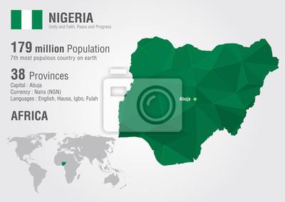 Naklejka Nigeria mapa świata z pikseli diamentu tekstur.