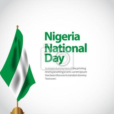 Naklejka Nigeria święto państwowe wektor szablon projektu ilustracji