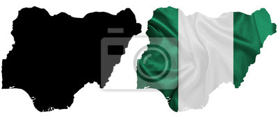 Naklejka Nigeria - Waving national flag on map contour with silk texture