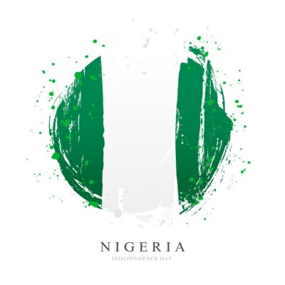 Naklejka Nigerian flag in the form of a large circle.