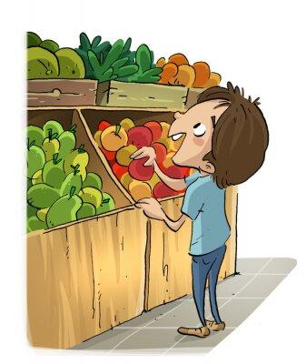 Naklejka Niño en la del Mercado Fruteria