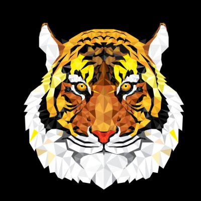 Naklejka Niska wielokąta Tiger geometryczny wzór - Ilustracja wektorowa