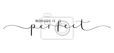 Naklejka NOBODY IS PERFECT brush calligraphy banner