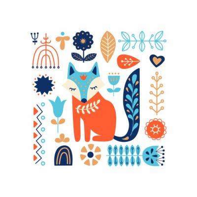 Naklejka Nordic ozdoby, wzór sztuki ludowej. Skandynawski styl. Leśne i leśne kwiaty. Ilustracji wektorowych.
