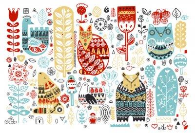 Naklejka Nordyckie zwierzęta i ptaki oraz kwiatowe elementy ludowe w stylu skandynawskim