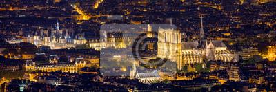 Naklejka Notre Dame de Paris cathedral, France. Notre Dame de Paris Cathedral, most beautiful Cathedral in Paris. Picturesque sunset over Cathedral of Notre Dame de Paris, destroyed in a fire in 2019, Paris.