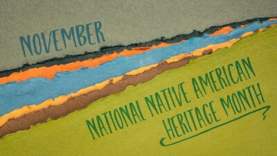Naklejka November - National Native American Heritage Month, handwriting on abstract paper river landscape, reminder of historical and cultural event