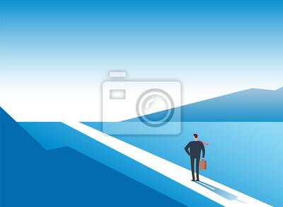 Naklejka Nowa koncepcja drogi. Początki przygód przygody i możliwości. Biznesmen na drodze na zewnątrz. Biznesowe tło wektor. Biznesmen i nowa sposobność, przyszłościowa sukces ilustracja