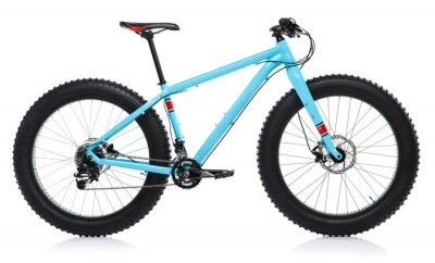 Naklejka Nowe niebieski rower samodzielnie na biały