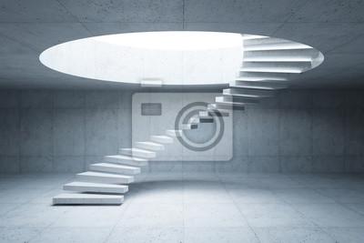 Naklejka nowoczesne schody w betonowym wnętrzu, renderowania 3d