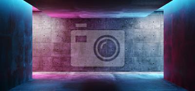 Naklejka Nowoczesny futurystyczny klub koncepcyjny Sci Fi Tło Grunge betonowy pusty ciemny pokój z neonowymi świecącymi fioletowymi i niebieskim różowymi neonami renderowania 3D
