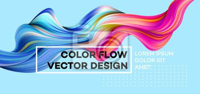 Naklejka Nowoczesny kolorowy plakat przepływu. Fala płynny kształt w kolorze niebieskim tle. Art Design dla twojego projektu. Ilustracji wektorowych