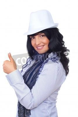 Naklejka Nowoczesny na sobie kapelusz stojący w profilu semi i podając kciuk w górę na białym tle