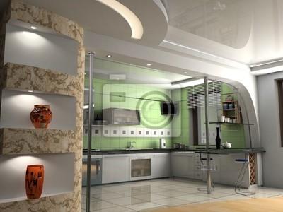 Nowoczesny Wystrój Wnętrz Kuchnia Renderowania 3d Naklejki Redro