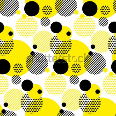 Naklejka nowoczesny wzór bezszwowe kropki. białe tło geometria koło kolor bez szwu tkanina próbki. wzór geometryczny próbka ilustracji wektorowych