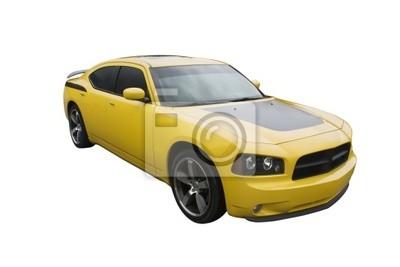 nowoczesny żółty musclecar