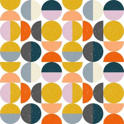 Naklejka Nowożytny wektorowy abstrakcjonistyczny bezszwowy geometryczny wzór z okręgami i okręgami w retro scandinavian stylu semi