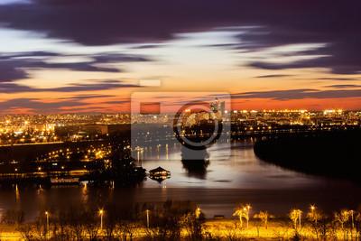 Naklejka Nowy Belgrad i zbiegu rzek Dunaju i Sawy, Belgrad