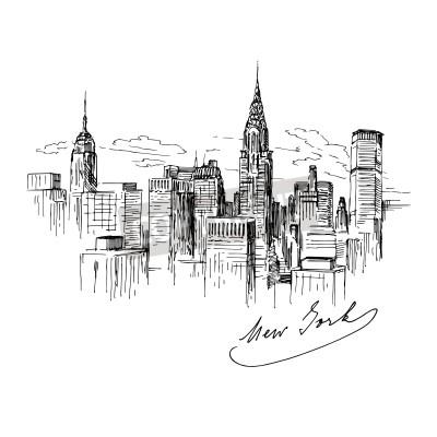 Naklejka Nowy Jork - ręcznie rysowane ilustracji