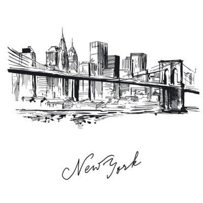 Naklejka Nowy Jork - ręcznie rysowane metropolis