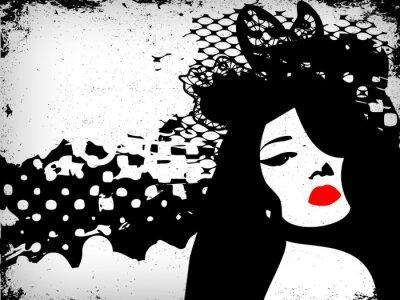 Naklejka Obraz Kobieta w stylu grunge