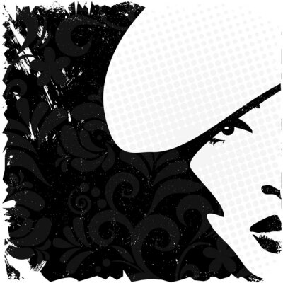 Naklejka Obraz Kobieta w stylu retro, vintage kartka