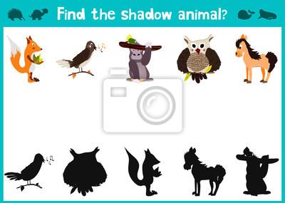 Naklejka Obraz lustrzany pięć różnych słodkie zwierzęta leśne wizualna gry. Zadanie znaleźć właściwą odpowiedź czarnym cieniem zwierząt. Wektor