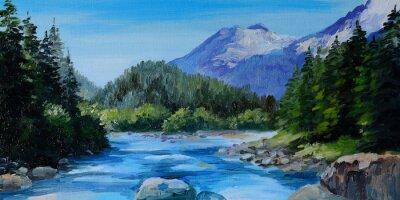Naklejka Obraz olejny - górskiej rzeki, skały i las, abstrakcyjne drawin