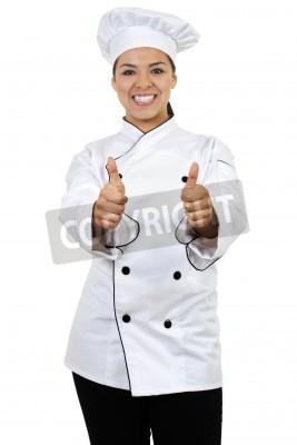 Naklejka Obraz z kobieta kucharz dając kciuki do góry, na białym tle