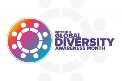 Naklejka October is Global Diversity Awareness Month. Holiday concept. Template for background, banner, card, poster with text inscription. Vector EPS10 illustration.
