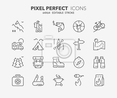 Naklejka odkryte i kempingu cienkie ikony linii 1