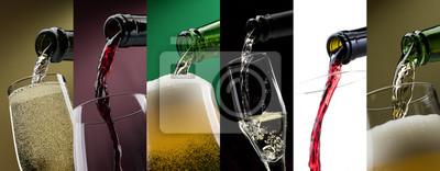 Odlewania napojów alkoholowych w szklanki fotografii okularów