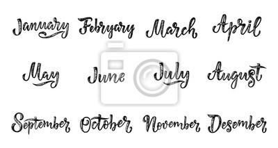 Naklejka Odręczne nazwy miesięcy Grudzień, styczeń, luty, marzec, kwiecień, maj, czerwiec, lipiec, sierpień, wrzesień, październik, listopad. Słowa kaligrafii dla kalendarzy i organizatorów.