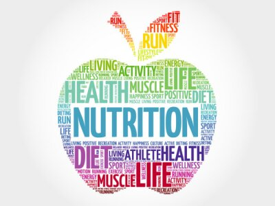 Naklejka Odżywianie apple word chmura, koncepcja zdrowia