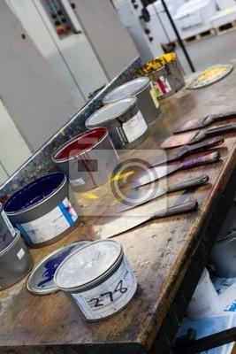 Naklejka Offsetowy druk narzędzia, puszki z tuszem i noże z tuszem